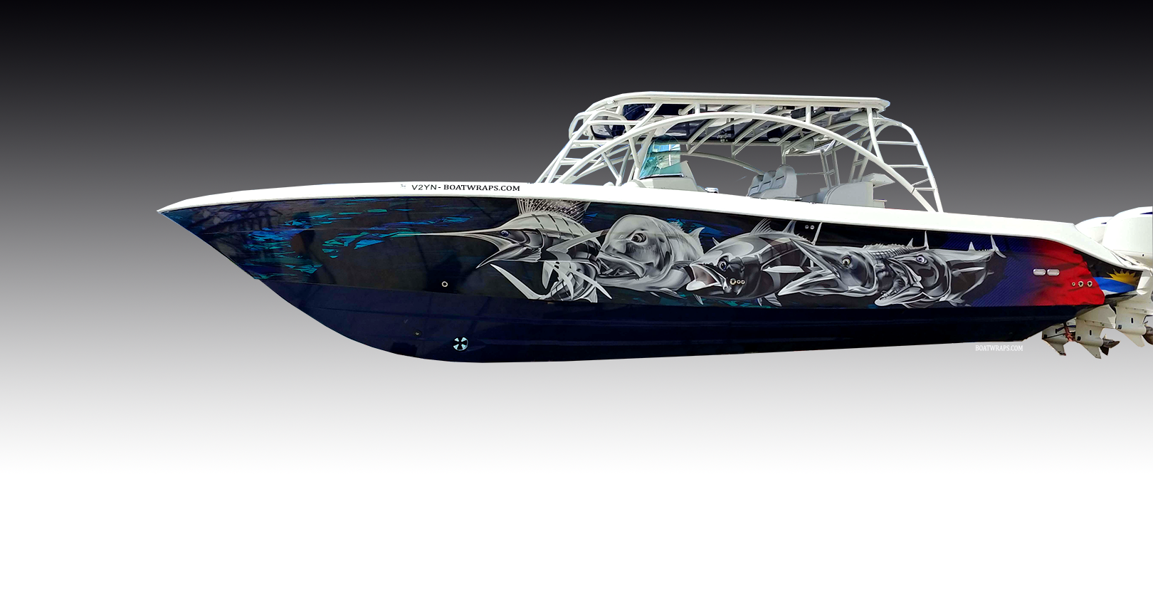 Vinyl Boat Wrap On Center Console NEW