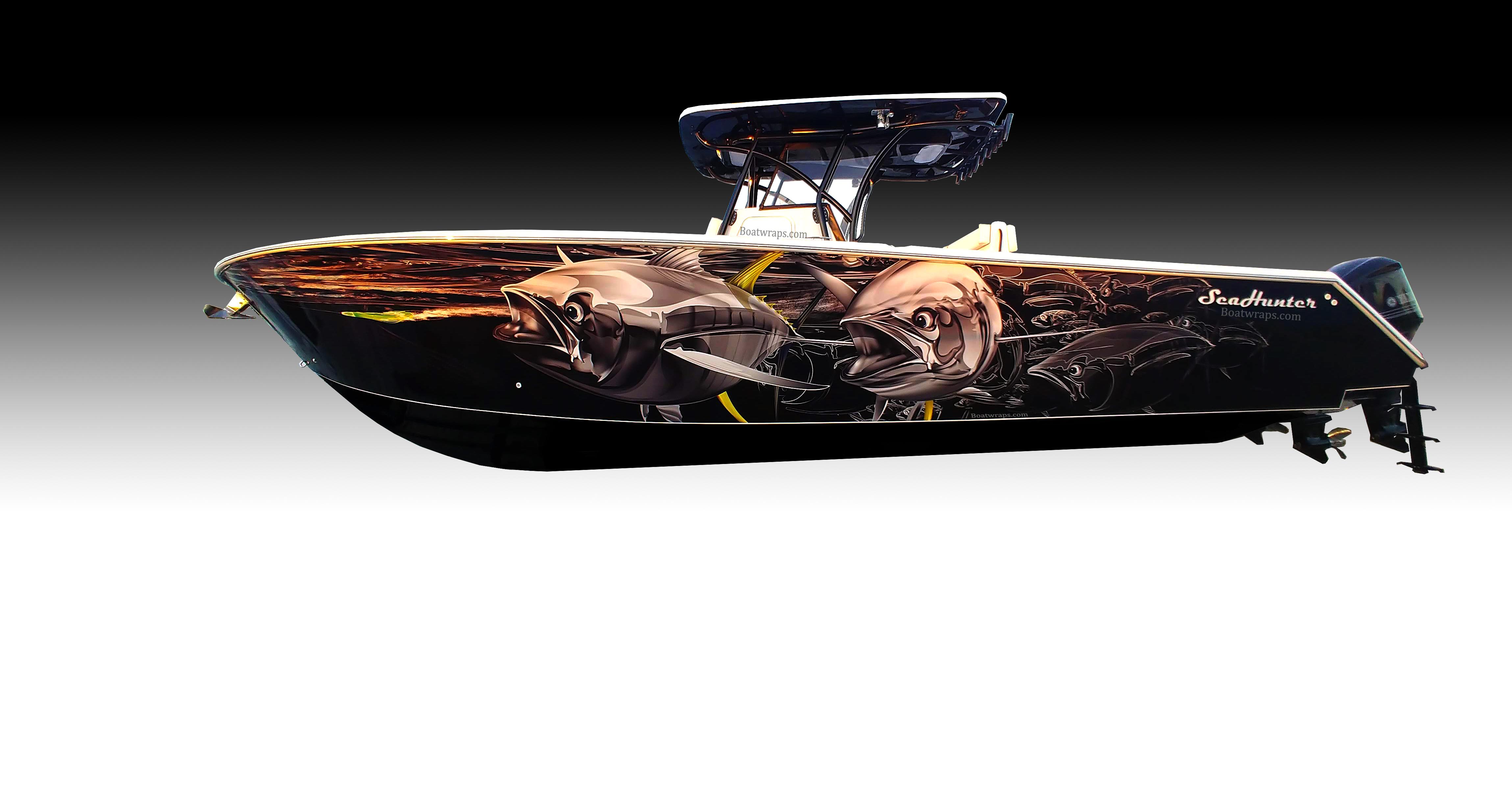 Vinyl Boat Wrap On Sea Hunter Center Console